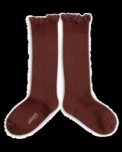 Collegien Josephine Knee High Socks | Lace Trim | Chataigne