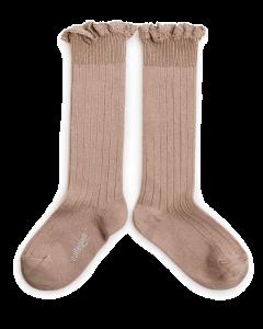 Collegien Josephine Knee High Socks | Lace Trim | Petit Taupe