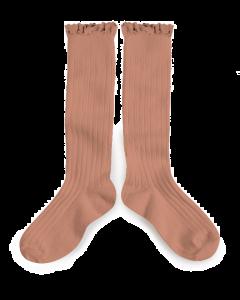 Collegien Josephine Knee High Socks | Lace Trim | Bois de Rose