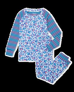 Hatley Organic Pyjamas | Cheetah Hearts Raglan PJ Set