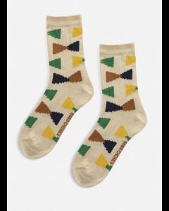 Bobo Choses | Ecru Geometric Short Socks