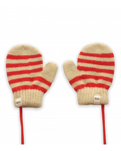 Bobo Choses Knitted Mittens | Red Stripe