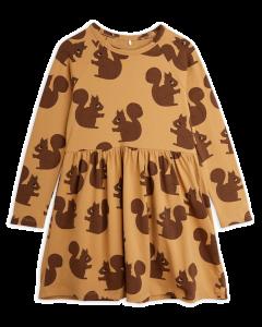 Mini Rodini | Squirrels Long Sleeve Dress in Brown